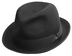 Differenttouch Men's 100% Crushable Merino Wool Felt Fedora Hats HE41 (S/M, Black)
