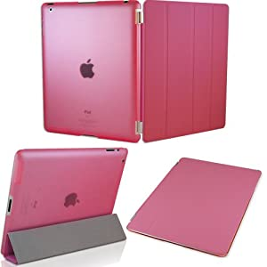 KHOMO ® DUAL CASE Pink Cover FRONT + Pink Crystal Back Protector with Rubberized texture for Apple iPad 2 , iPad 3 & iPad 4 (The new iPad HD)