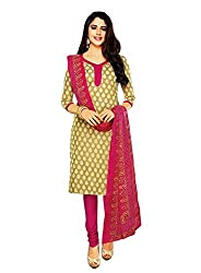 Shree Ganesh Women's Dress Material Biege and Pink Cotton Printed Churiddar Suit with Dupatta
