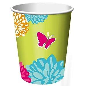 Butterflies 9oz Paper Cups 8 Per Pack
