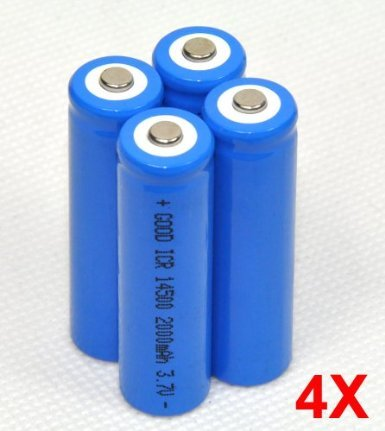 4x 2000mah ICR 14500 3.7v Aa Rechargeable Li-ion Battery for Ultrafire LED Torch