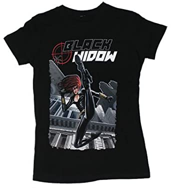 Black Widow - Marvel Comics Sheer Women's T-shirt: Junior XL - Black