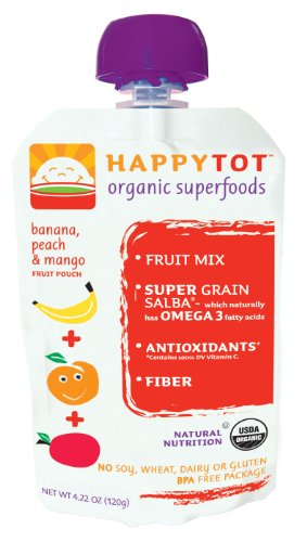 Happy Tot Organic Baby Food Banana Peach and Mango 4 22 Ounce Pouches Pack of 16