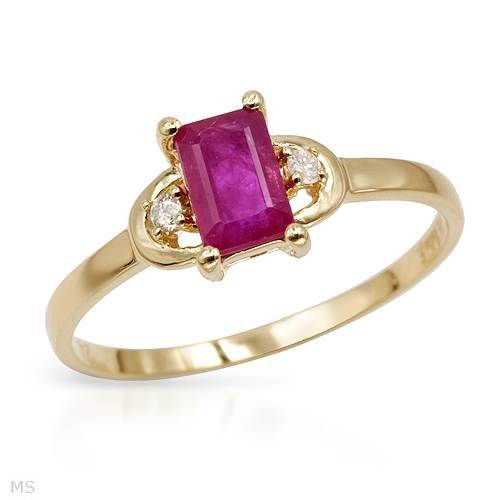 Yellow Gold 0.81 CTW Ruby and 0.04 CTW Color I-J I1-I2 Diamond Ladies Ring. Ring Size 7. Total Item weight 1.3 g.