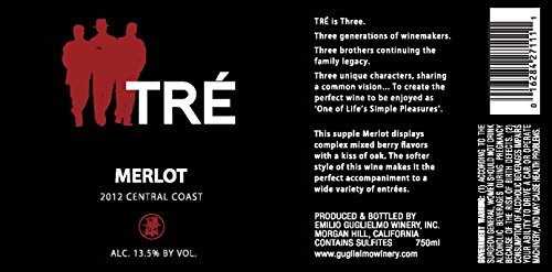 2012 Tre Central Coast Merlot 750 Ml