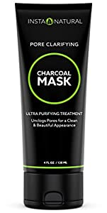 InstaNatural Charcoal Mask for Face - Acne Eliminating Formula to Get Rid of Blackheads, Unclog Facial Pores & Clear Skin - Contains Charcoal Powder & China Clay to Deliver Visible Improvement - 4 OZ