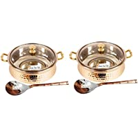 Set Of 2 Prisha India Craft ® High Quality Handmade Steel Copper Casserole With Lid And Serving Spoon - Set Of...