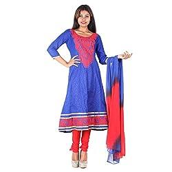 RangoliSF Woman's Cotton Unstitched Dress Material (RSFG1409 Blue)
