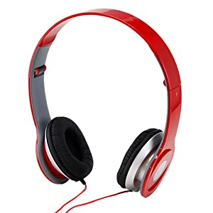 Adjustable Circumaural Red Over Ear Hifi Stereo Stero Earphone Headphone for PC MP3 MP4 iPod