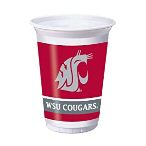 Buy Creative Converting 8 Count Washington State Cougars Printed Plastic Cups, 20-Ounce by Creative Converting