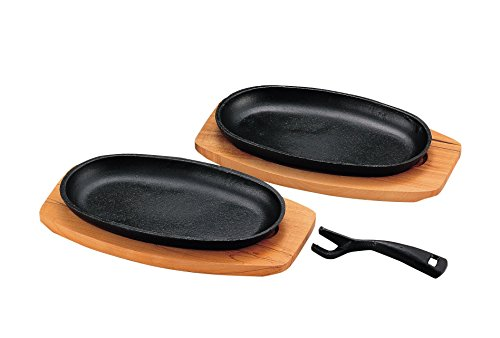 Two pieces of H-7529 Pearl Sprout iron cast iron steak dish (japan import)