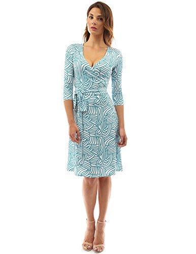 PattyBoutik Women's Geometric Faux Wrap A Line Dress (Dark Cyan and White M)