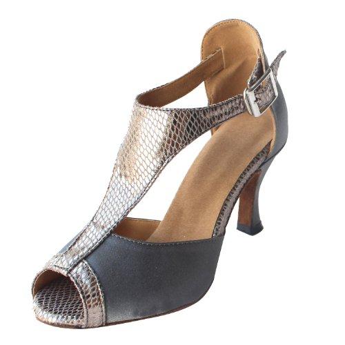 "Msmushroom Woman'S Satin And Pu Dancing Performance Latin Shoes 2 1/6""Heel,Grey,6.5 M Us"