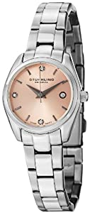 Stuhrling Original Women's 414L.02 Classic Ascot Prime Stainless Steel Bracelet Watch with Pink Dial and Swarovski Crystals