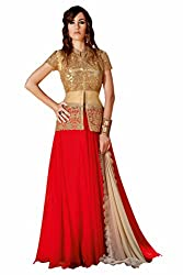 SK creation Glorious Red And Beige Heavy Neck Embroidered Party Wear Gown
