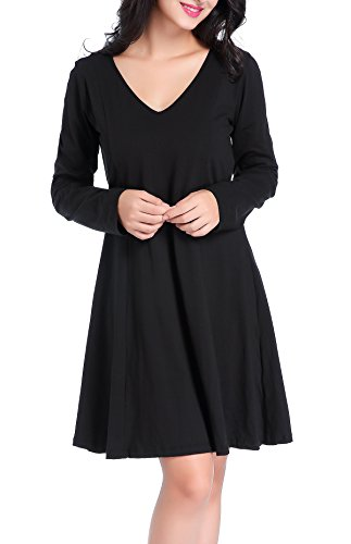 Chamllymers Women's Casual Long Sleeve Cotton Formal Dress S to XL