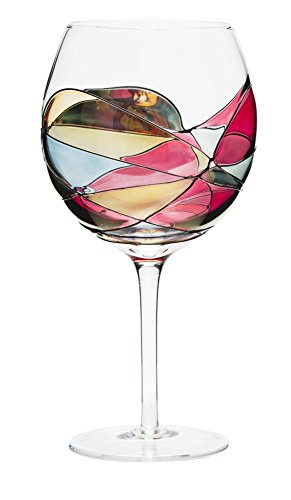 ANTONI BARCELONA Wine Glass Balloon 21oz - Unique Hand Painted Gifts for Parents, Mother, Father, Teacher, Boss, Employees, Client, Grandmother, Grandfather, Guest, In-laws, Thank You - Set of 1 (21 Oz Glasses With Lids compare prices)