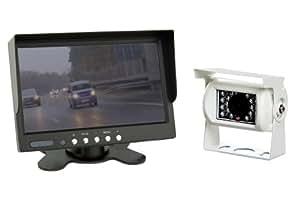 Kit camera de recul sans IP67 camera (blanc) + ecran 7 pouces avec câble de 20 mètres (12-24 Volt)