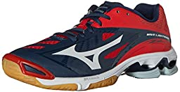 Mizuno Men\'s Wave Lightning Z2 Volleyball Shoe, Navy/Red, 9.5 D US