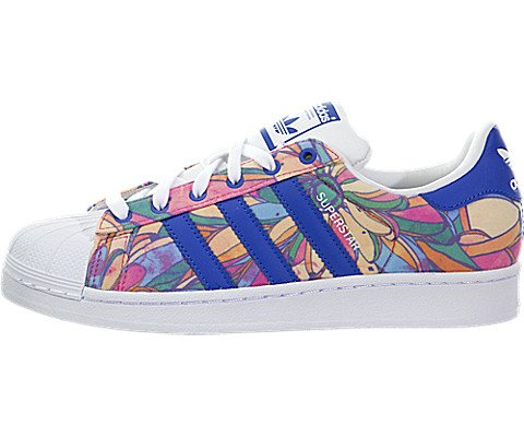 Adidas Originals Women's Superstar W Fashion Sneaker, Lab Blue/Lab Blue/White, 7 M US