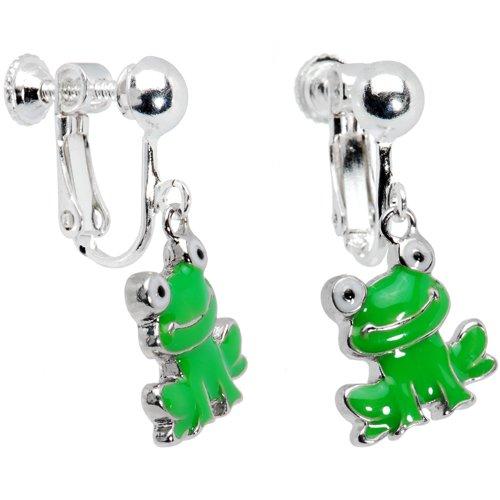 Smiling Frog Clip On Earrings