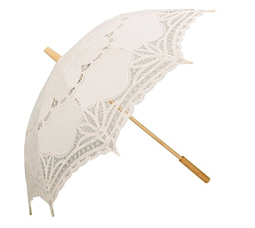 Leegoal Handmade Umbrellas for Bridal Bridesmaid Wedding Decoration, Beige