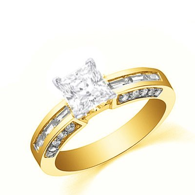 1.47 Carat Princess Beautiful Diamond Engagement Ring Bridal Set Wedding Ring On 14K Yellow Gold