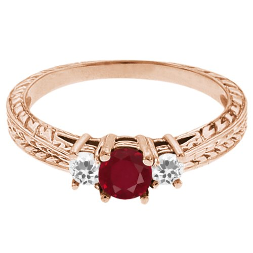 0.58 Ct Round Red Ruby White Topaz 18K Rose Gold 3-Stone Ring