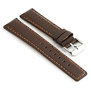 StrapsCo Perforated Dark Brown with Orange Stitching Leather Rally Watch Band size 20mm