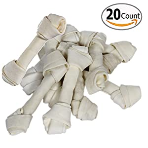Rawhide Dog Bones 6-7 Inch Awesome Taste Totally Natural Food 20 Count Bag Sold in Bulk, Used Like Toys Chewers for Small and Large Pets Also Helps Aggressive Control in Usa Made with High Quality Materials for Your Puppy Moneyback Guarantee