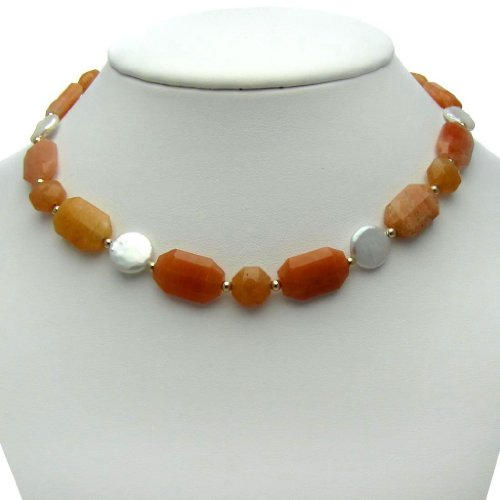 14k Yellow Gold 11-12mm Freshwater Pearl with Orange Aventuruine & Carnilian Necklace 16.25