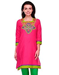 Awesome Fab Pink Color Cotton Fabric Women's Straight Kurti