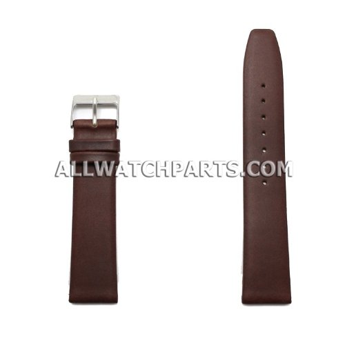 20Mm Brown Smooth & Flat Style Genuine Leather Band