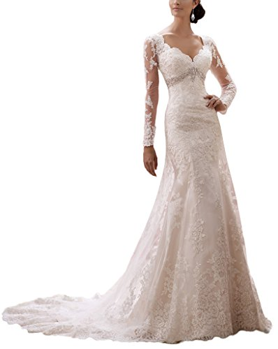 YunMan Vintage 2016 Long Sleeves Mermaid Wedding Dresses for Bride Lace Gowns YMD060