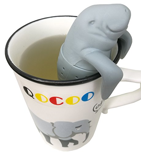 QOCOO Pack of 2 Home Office Loose Leaf Tea Infuser Strainers for LossTea, Blcak Tea, Green Tea,Made from Food-Grade Silicone Manatee gray (Whale Teapot compare prices)
