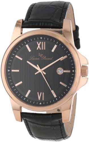 Lucien Piccard Men's 10048-RG-01 Breithorn Black Textured Dial Black Leather Watch