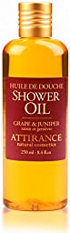 Attirance - Shower Oil - Grape & Juniper - 8.4oz - All Natural with Grape Seed Oil, Juniper Extract & Castor Oil