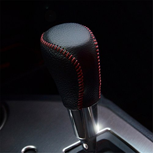 Kust Pd2721R Automatic Transmission Real Genuine Leather Shift Gear Knob Cover(Pack of 1 Black+Red Wire Fit for Gear Size) (Gear Shift Knob Cover Toyota compare prices)