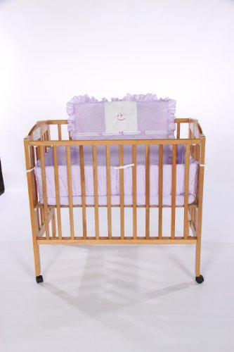 Baby Doll Bedding Gingham with Rocking Horse Applique Port-a-Crib Bedding Set, Lavender