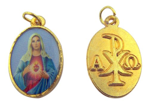 Womens Catholic Gift Immaculate Heart of Mary Gold Tone Medal Pendant Jewelry Charm
