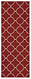 Custom Size Runner Red Moroccan Trellis Non-Slip (Non-Skid) Rubber Back Stair Hallway Rug by Feet 22 Inch Wide Select Your Length 22in X 7ft
