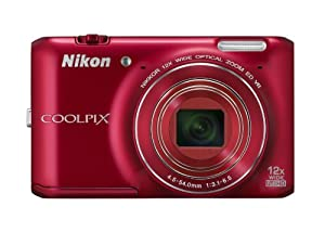 Nikon COOLPIX S6400 16 MP Digital Camera with 12x Optical Zoom and 3-inch LCD (Red)