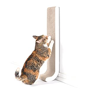 "4CLAWS Wall Mount Scratching Post 26"" (White) - BASICS Collection Cat Scratcher"