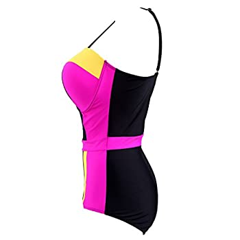 HDE Women's Retro One Piece Swimsuit Plus Size Padded Halter Vintage Swimsuit