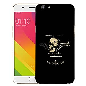 Snoogg Skull Helicopter Designer Protective Back Case Cover For OPPO A59