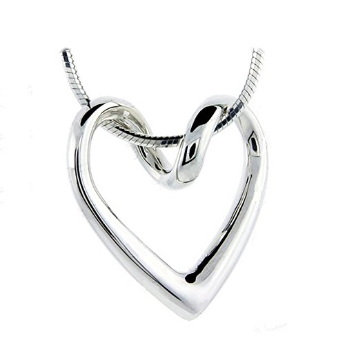 Necklace For Women Teen Girls - 14k White Gold Plated Open Heart Shaped Pendant - Prime Gift