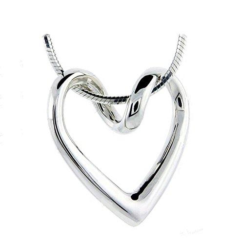 Necklace For Women Teen Girls - 14k White Gold Plated Open Heart Shaped Pendant - Prime Gift
