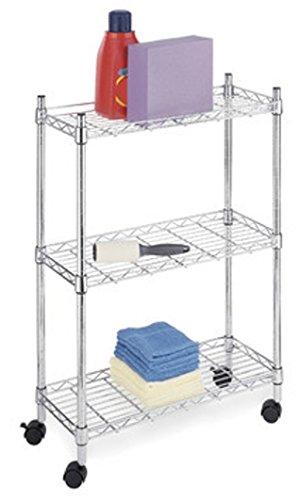Carrello da cucina in acciaio cromato, mensole in filo cromato misura 45x90x83 cm con 3 piani e ruote girevoli