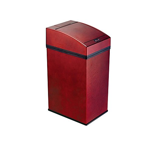 SD Slim Trash Can With Lid Kitchen Square Trash Can Color Red Size 7L