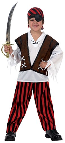 HCL Product USA Boy Pirate Costume 10 to 12 Red